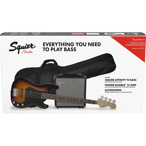 Fender Squier Affinity Series Precision Bass® PJ Pack, Brown Sunburst, Gig Bag, Rumble 15