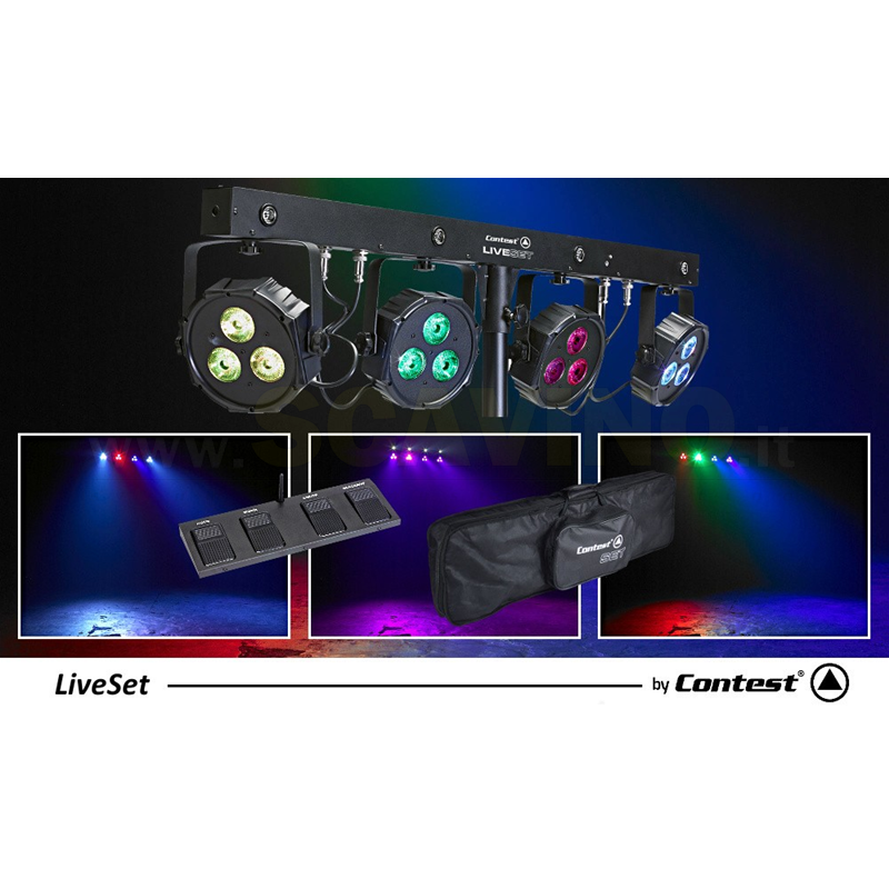 CONTEST Liveset 4-PROJECTOR BAR WITH 3 X 9W LEDS AND 1 X 1W FLASH LED kit luci