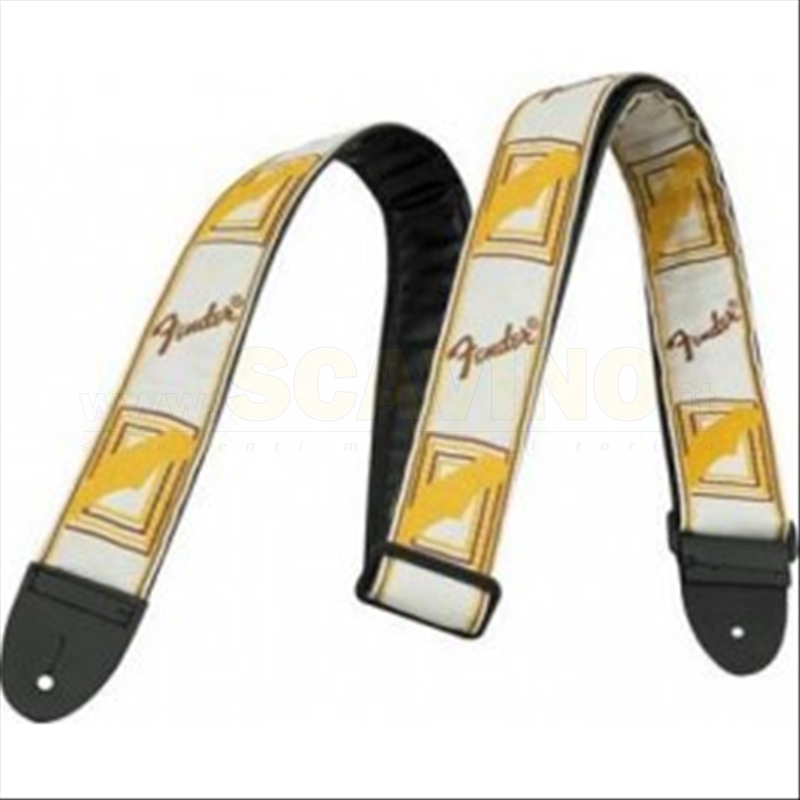 Fender strap White Brown Yellow